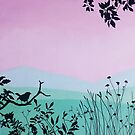 Spring in pink and green, beautiful painting.  by ColorsHappiness