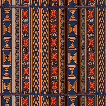 Boho Mudcloth (Blue, Gold, Persimmon) by RoxanneG