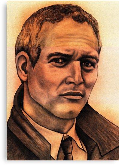 Paul Newman celebrity portrait by Margaret Sanderson