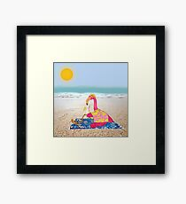 Lawn Flamingo on Vacation Framed Print