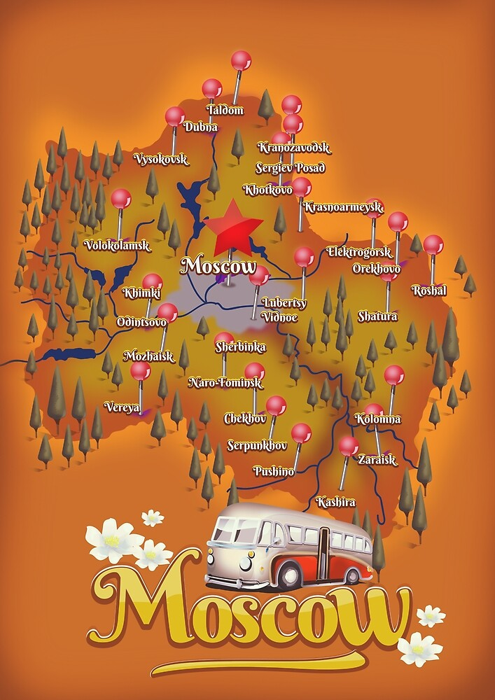 Moscow Russia map travel poster\