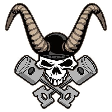 Skull with horns and crossed pistons illustration by hobrath