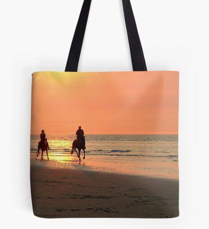 Horse ride at sunset Tote Bag