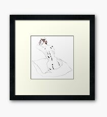 Cushion Nude- Abstract etching Framed Print