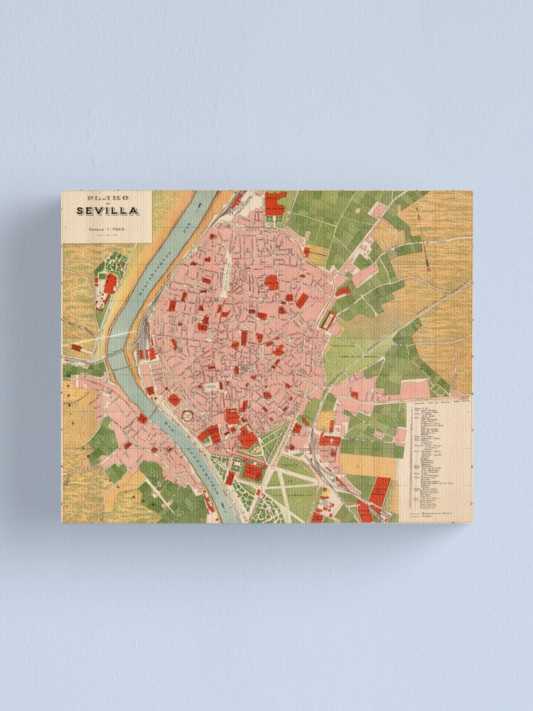 Alternate view of Vintage Map of Seville Spain (1918) Canvas Print