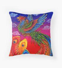 Fenghuang Chinese Phoenix Rainbow Bird Throw Pillow