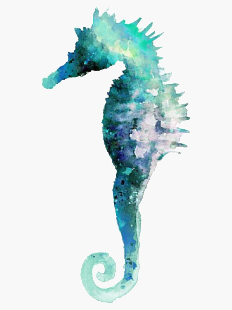 Blue Green Watercolor Seahorse Sticker by tullabee