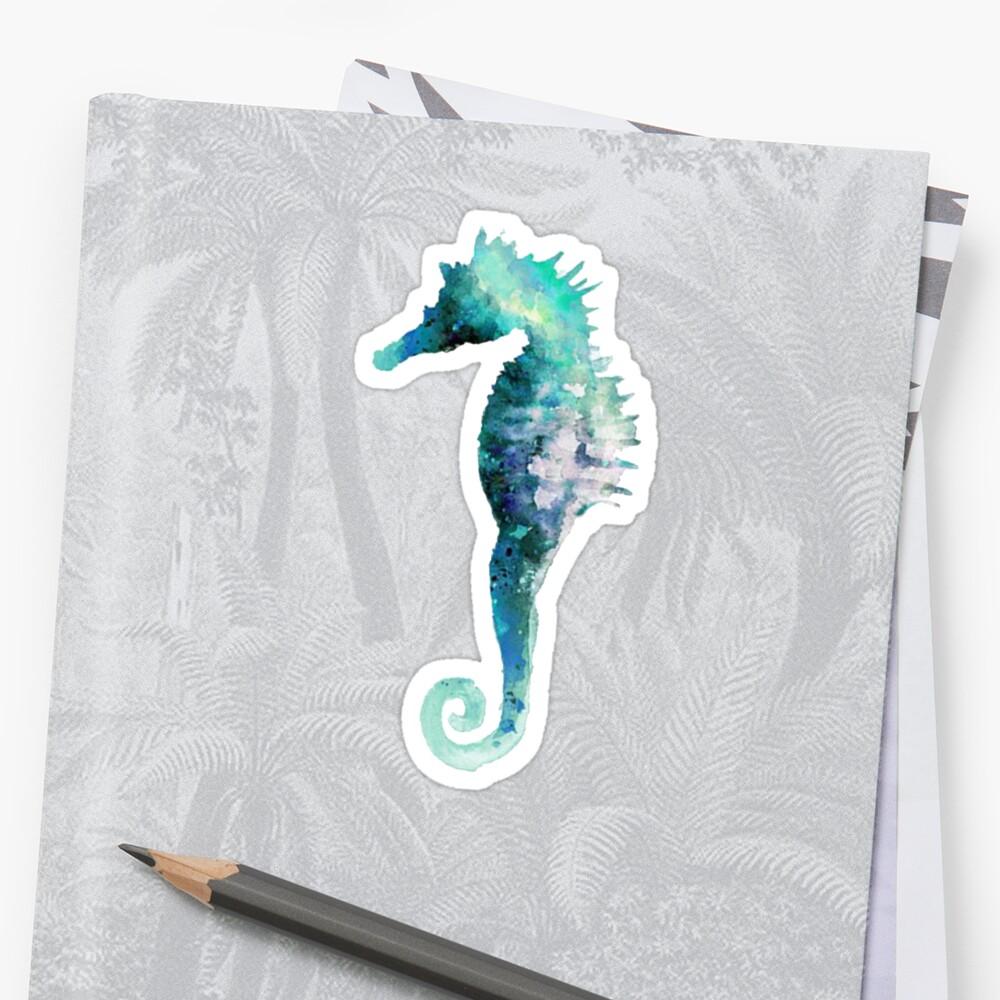 Blue Green Watercolor Seahorse Sticker Sticker