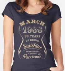 March 1986 33rd Birthday Gift Idea For Her Womens Fitted Scoop T Shirt
