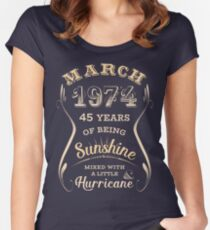 March 1974 45th Birthday Gift Idea For Her Womens Fitted Scoop T Shirt