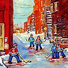 BACKLANE HOCKEY GAME OFF THE AVENUES VERDUN MONTREAL WINTER STREETS C SPANDAU CANADIAN ART by Carole  Spandau