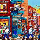 FAIRMOUNT AND CLARK MONTREAL WINTER SCENES PLATEAU DINER WITH HOCKEY by Carole  Spandau