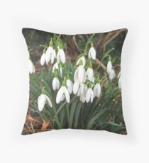 Snowdrops in my Garden Throw Pillow