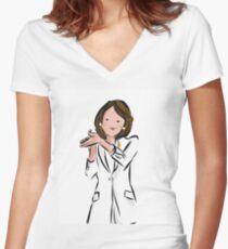 Cartoon Nancy Women's Fitted V-Neck T-Shirt