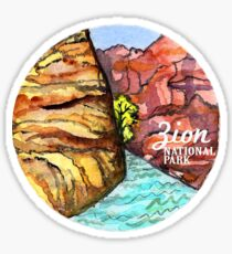 Zion National Park Watercolor  Sticker