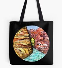 Zion National Park Watercolor black bg Tote Bag