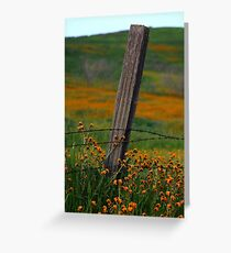 Old Fence Post and Spring Wildflowers Greeting Card