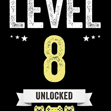 Funny Vintage Level 8 Unlocked Video Gamer Birthday by with-care