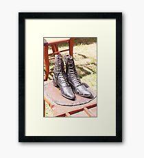Women's hightop shoes, circa 1850 Framed Print