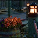Flowers on the Dock at Sunset by DeerPhotoArts