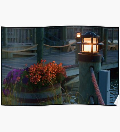 Flowers on the Dock at Sunset Poster