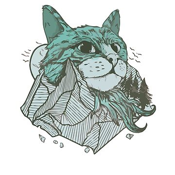 Cats mountain with cat head and rocks by PM-TShirts