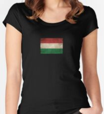 Old and Worn Distressed Vintage Flag of Hungary Women's Fitted Scoop T-Shirt