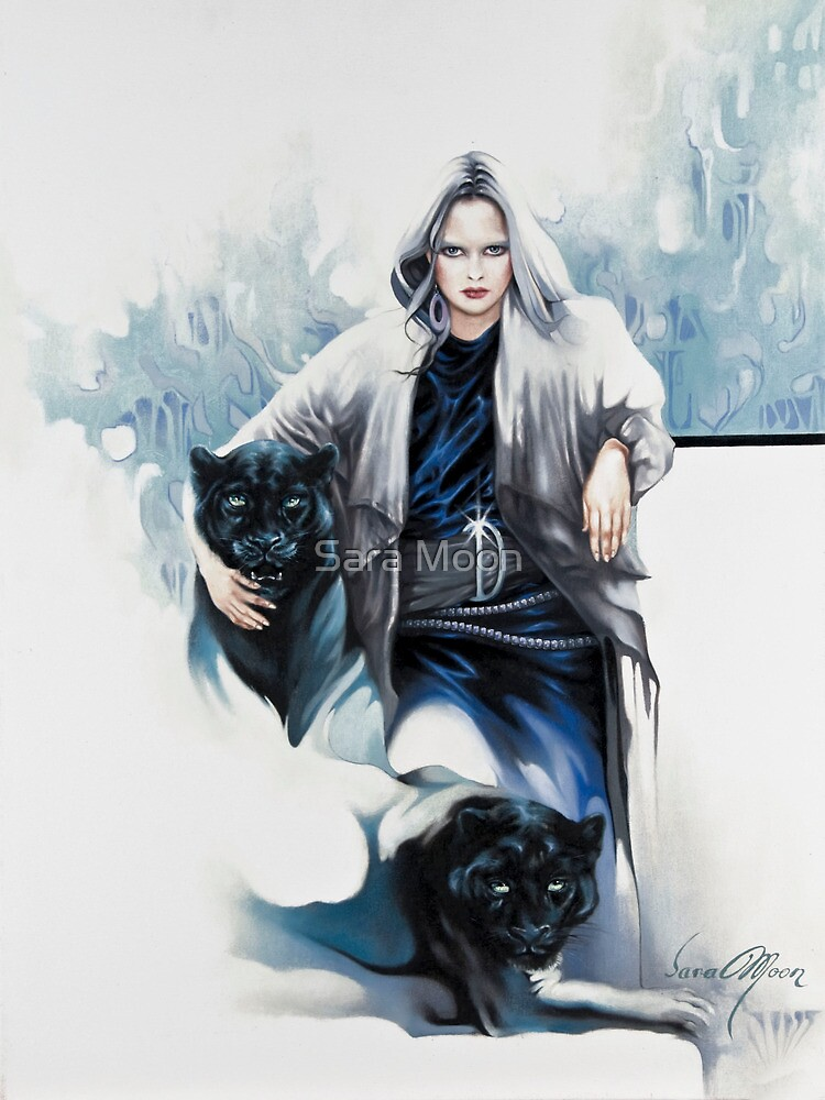 """""""Mistress of The Black Panthers"""" Painting in Oils by Sara Moon"""