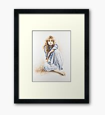 """""""Hippy Girl"""" Painting in Oils Framed Print"""