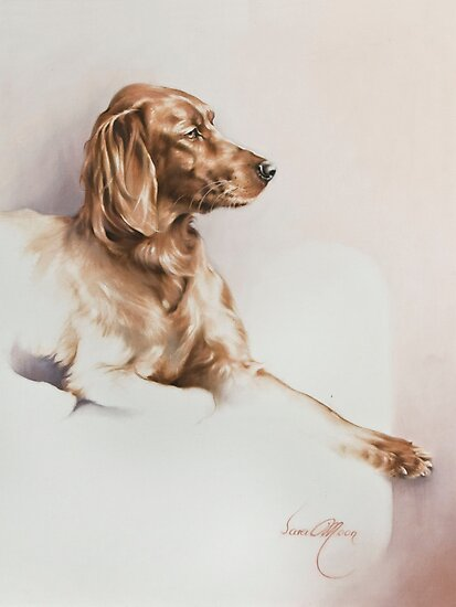 """""""Red Setter"""" Panting in Oils by Sara Moon"""