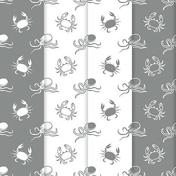 Set of 4 seamless pattern. Octopuses and crabs. by aquamarine-p