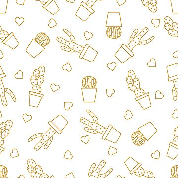 Seamless pattern with cactus, succulents, hearts. by aquamarine-p