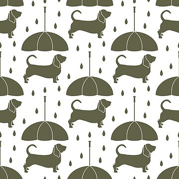 Seamless pattern with rain, dog under an umbrella by aquamarine-p