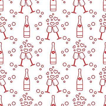 Seamless holiday pattern. Hearts, glasses, bottle by aquamarine-p