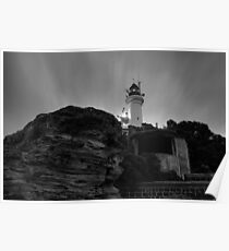 Pre Dawn at Point Lonsdale Lighthouse in Black and White Poster