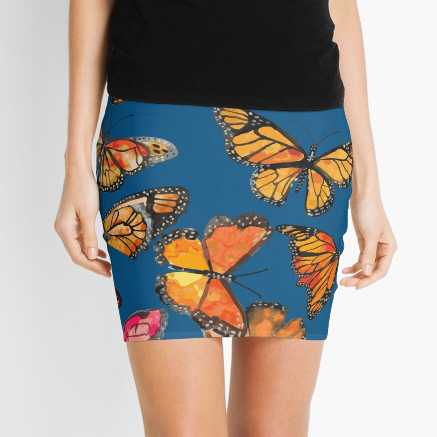 Monarch Butterflies Fly Mini Skirt