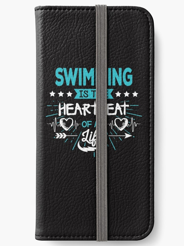 \'Heartbeat Swimming T-Shirt - Cool Funny Nerdy Swimmer Swimming Swim Team  Coach Team Humour Statement Graphic Image Quote Tee Shirt Gift\' iPhone ...