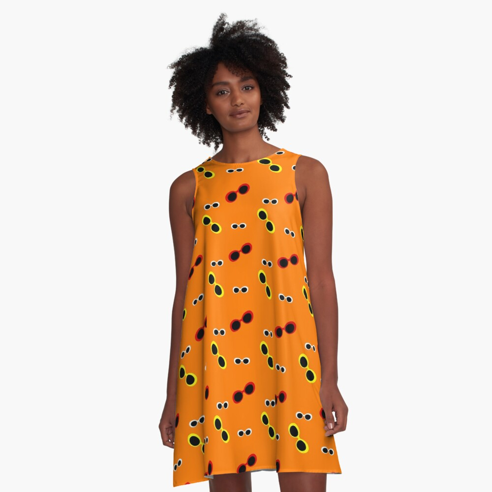Orange oval sunglasses print A-Line Dress Front