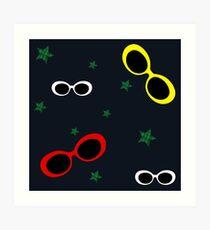 Nineties Oval sunglasses on slate blue Art Print