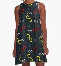 Nineties Oval sunglasses on slate blue A-Line Dress