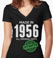 Made In 1956 All Original Parts - Quality Control Approved Women's Fitted V-Neck T-Shirt