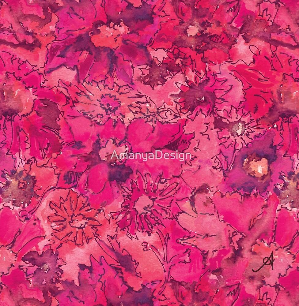 « Aquarelle Daisies Rose Amanya Design » par AmanyaDesign