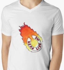 Dead Like Me - Flaming Toilet Seat Men's V-Neck T-Shirt