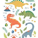 Dinos + Volcanoes by latheandquill