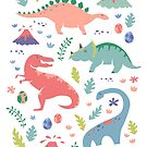 Dinos + Volcanoes in Coral by latheandquill