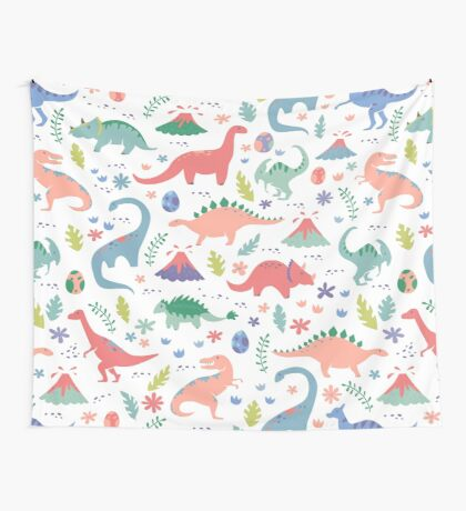 Dinos + Volcanoes in Coral Wall Tapestry