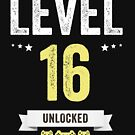 Funny Vintage Level 16 Unlocked Video Gamer Birthday by Jane Keeper