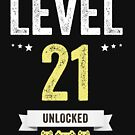 Funny Vintage Level 21 Unlocked Video Gamer Birthday by Jane Keeper