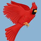 Red Cardinal Flying by Kitsulie