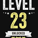 Funny Vintage Level 23 Unlocked Video Gamer Birthday by Jane Keeper